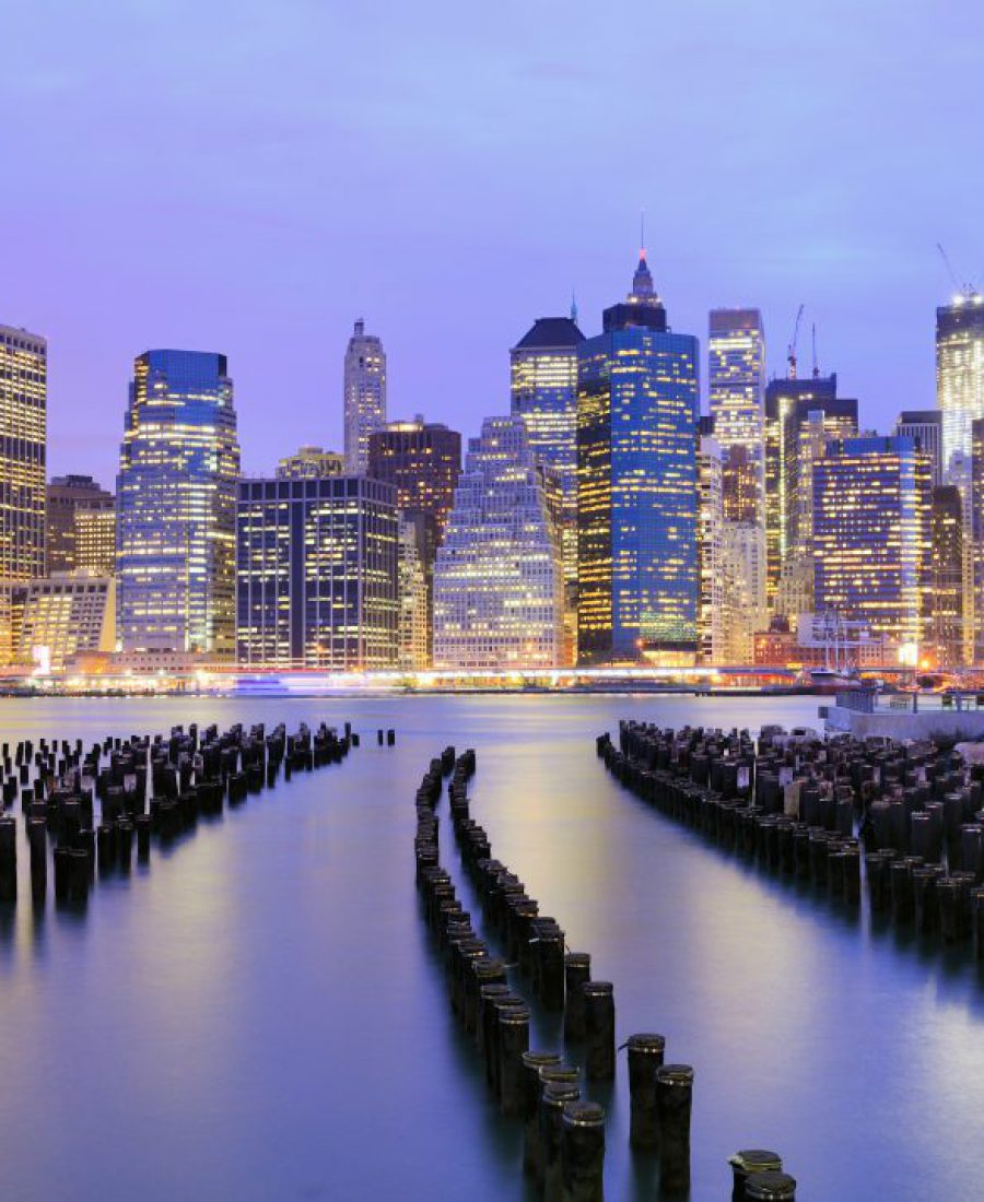 Lower Manhattan at night in New York City